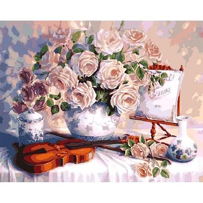 Купить Розы и скрипка (КНО5518) картина по номерам